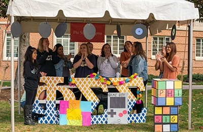 "The '80s ""Totally RAD"" guided this sorority's tent."