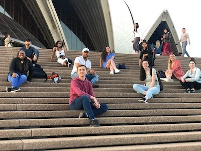 The study abroad group visited the Sydney Opera House