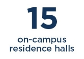 15 on-campus residence halls