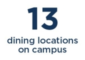 13 dining locations on campus