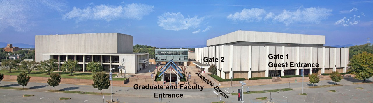 Graduates should enter the winter commencement ceremony through the Exhibit Hall doors located in the front-middle of the Berglund Center.